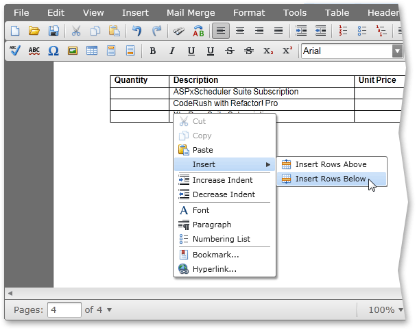 Silverlight Rich Edit Control Tables