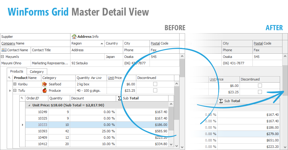 WinForms Data Grid Master-Detail Mode - Performance and UX