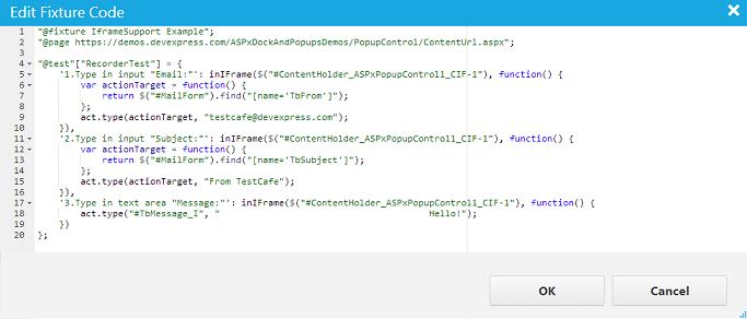 TestCafe HTML5 Web Testing Code in IFrame