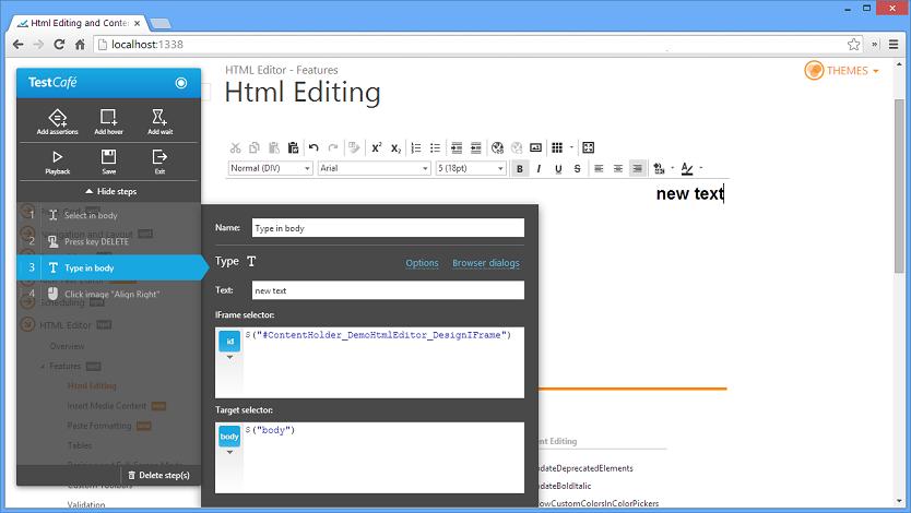 TestCafe HTML5 Web Testing ContentEditable IFrame