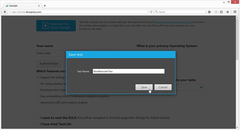 Web Test Recorder - Save Test