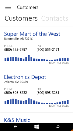 Universal App Controls - Phone Chart