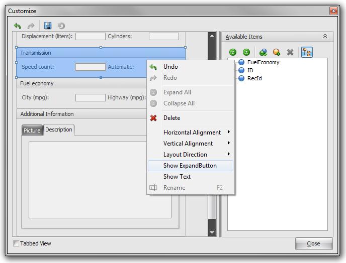 VCL Grid - Layout View Customization