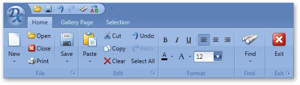 WPF Ribbon Toolbar Menu Control