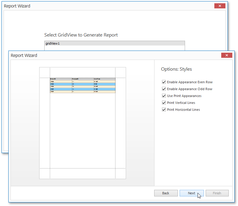 WinForms Grid Based Report Wizard