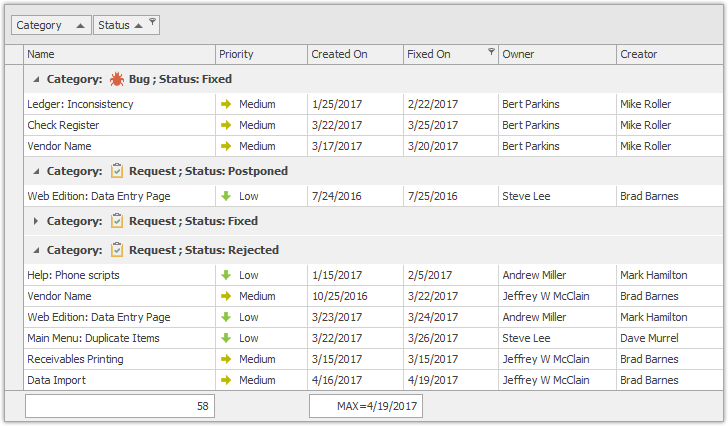WinForms Data Grid Merged Column Grouping Active