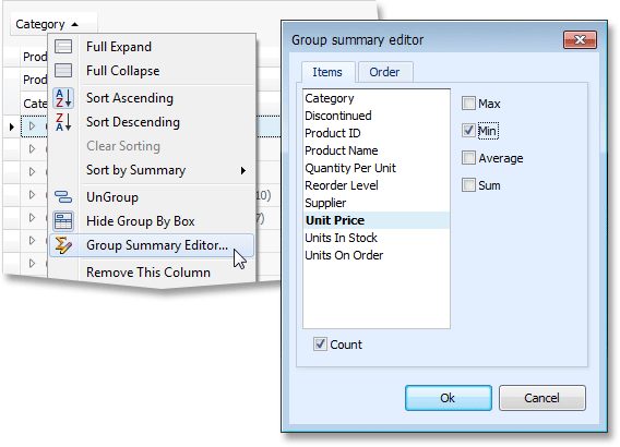 WinForms Grid Group Summary Editor