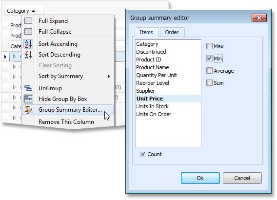 WinForms Grid Group Summary Editor