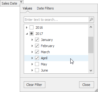 Excel inspired date filter