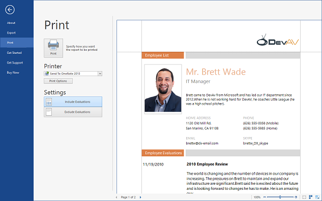 DevExpress WinForms Controls - Outlook Inspired Print Preview