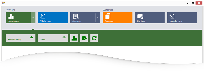 Microsoft Dynamics Inspired Tile Nav Bar