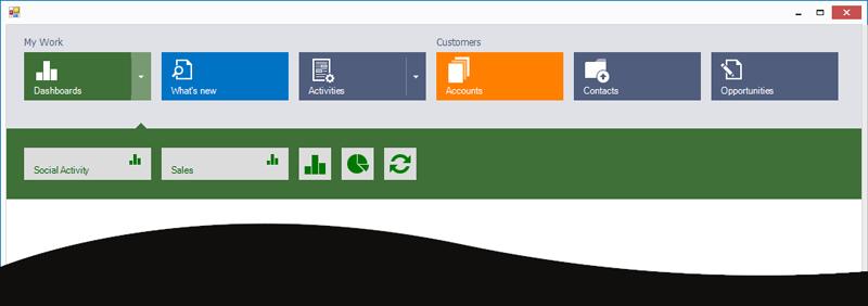 Microsoft Dynamics Inspired Tile Nav Bar