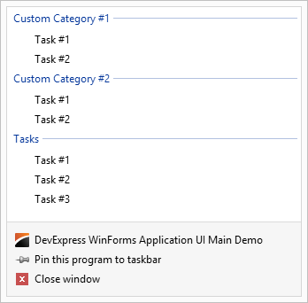 WinForms Taskbar Assistant Jump Lists