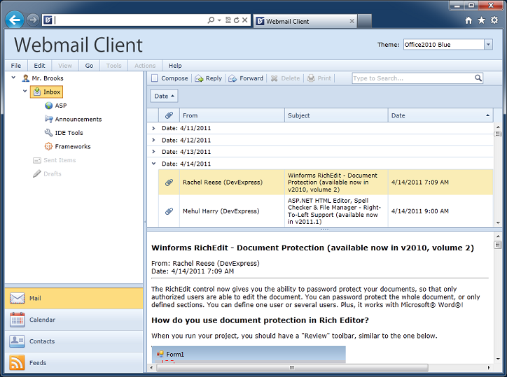 ASP.NET Outlook Style Email Client