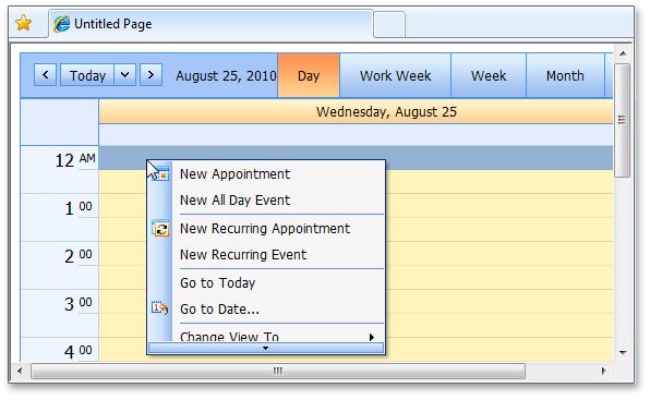 ASP.NET Scheduler Calendar Scrollable Menu