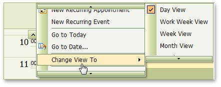 ASP.NET AJAX Scheduler Calendar Menu