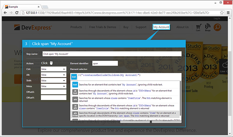 Web Testing - JQuery Selector