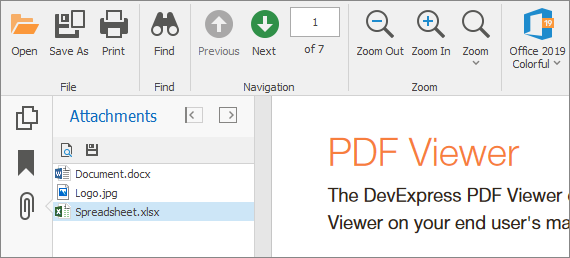 PDF Viewer - Attachment Panel