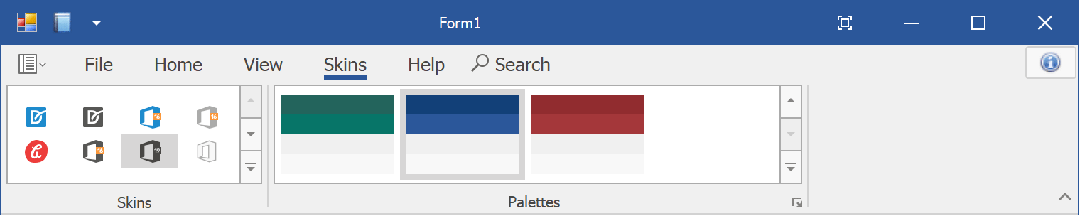 Office 2019 Skin with multiple palettes