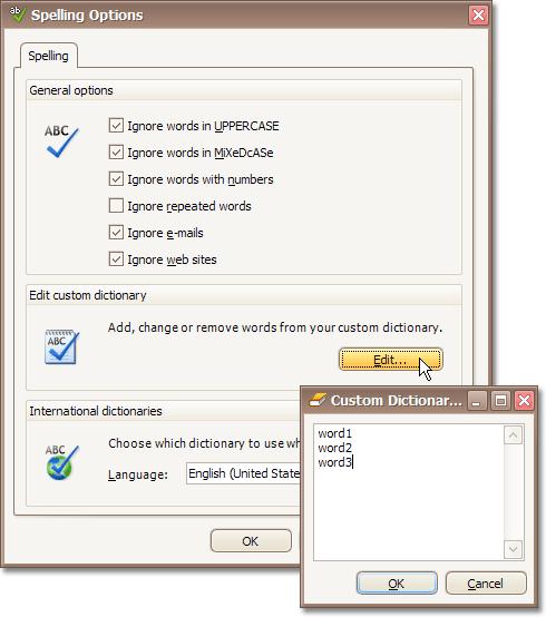 Modifying a custom dictionary