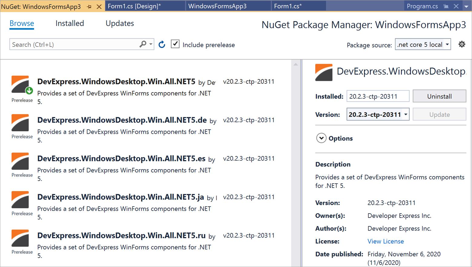 NuGet Package Manager with Localized WinForms packages