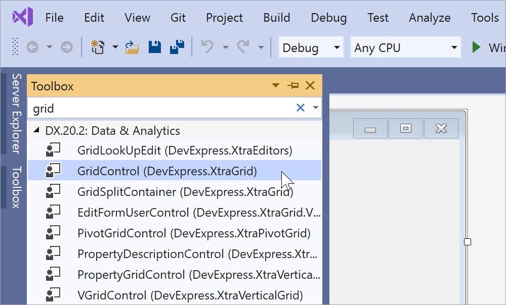 Visual Studio Toolbox with DevExpress controls