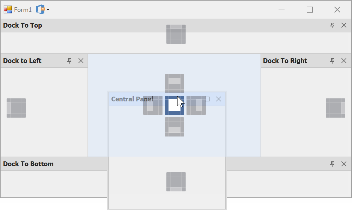 WinForms DockManager - Dock Panels to center