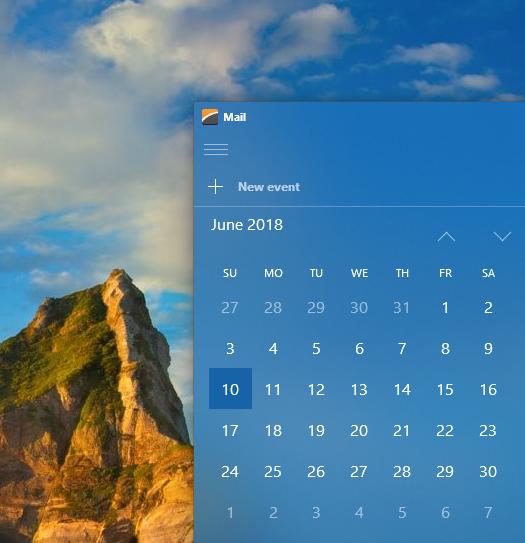 Calendar - Fluent View