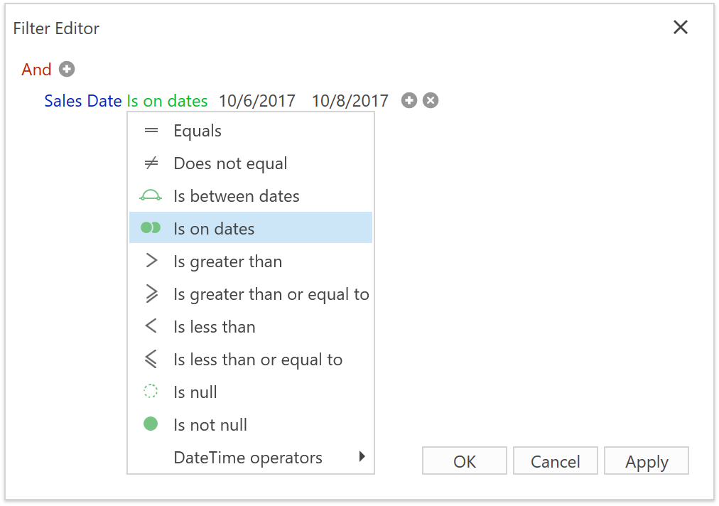 Filter Editor showing new date operators