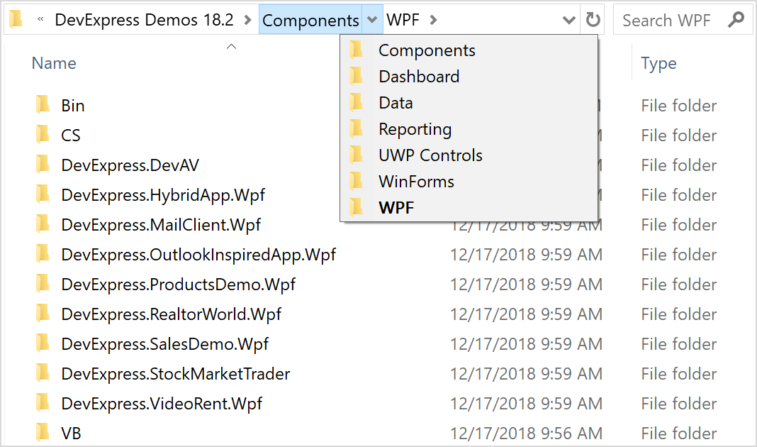 Breadcrumb Control in Explorer