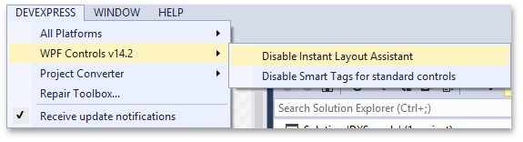 DevExpress WPF Controls. Design Time Features. Smart Tags