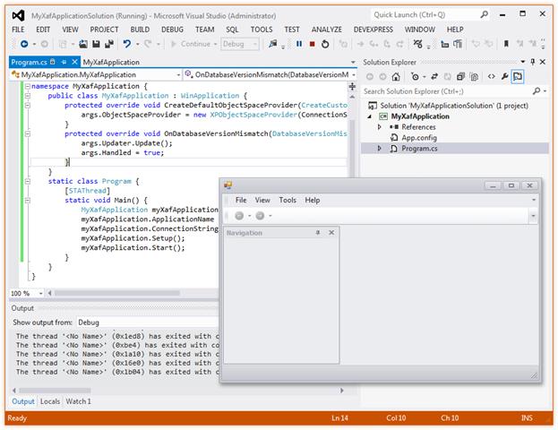 XAF Application From Scratch - First Run
