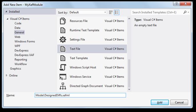 XAF Application From Scratch - Add Model.DesignedDiffs.xafml File